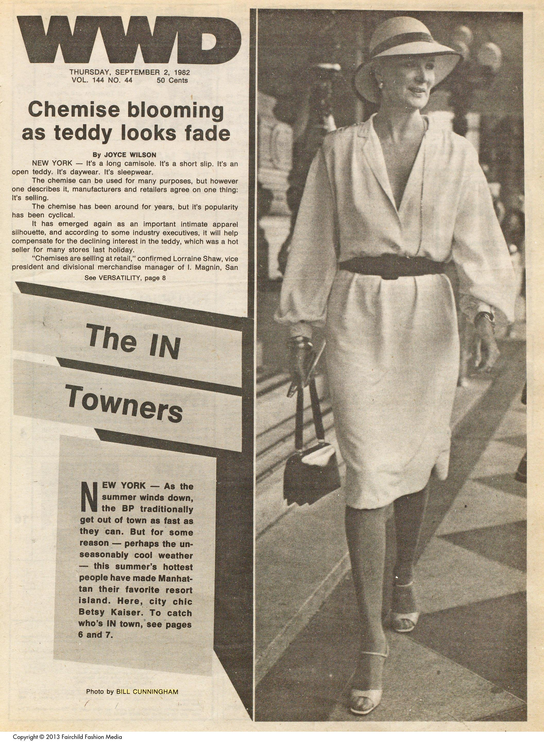 """""""The IN Towners"""" by Bill Cunningham for WWD September 2, 1982."""