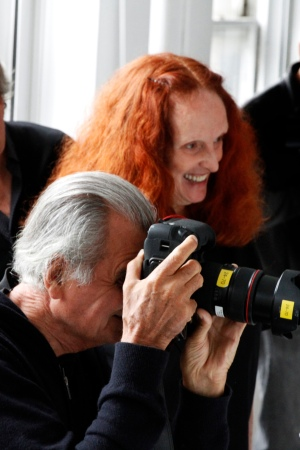 Grace Coddington and Patrick Demarchelier behind the scenes of Dove's #LoveYourHair shoot.
