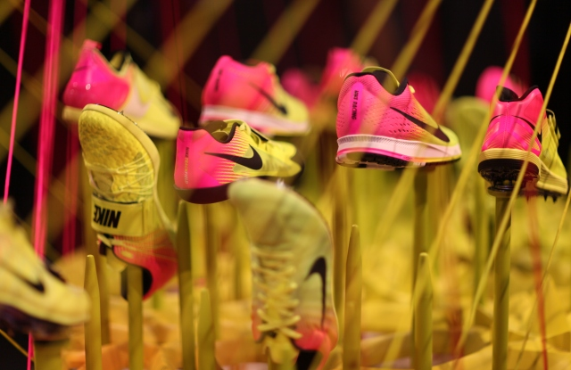 Nike's 2016 track and field footwear collection is done in shades of Nike Volt and hyper pink to create a visual blurr in motion.