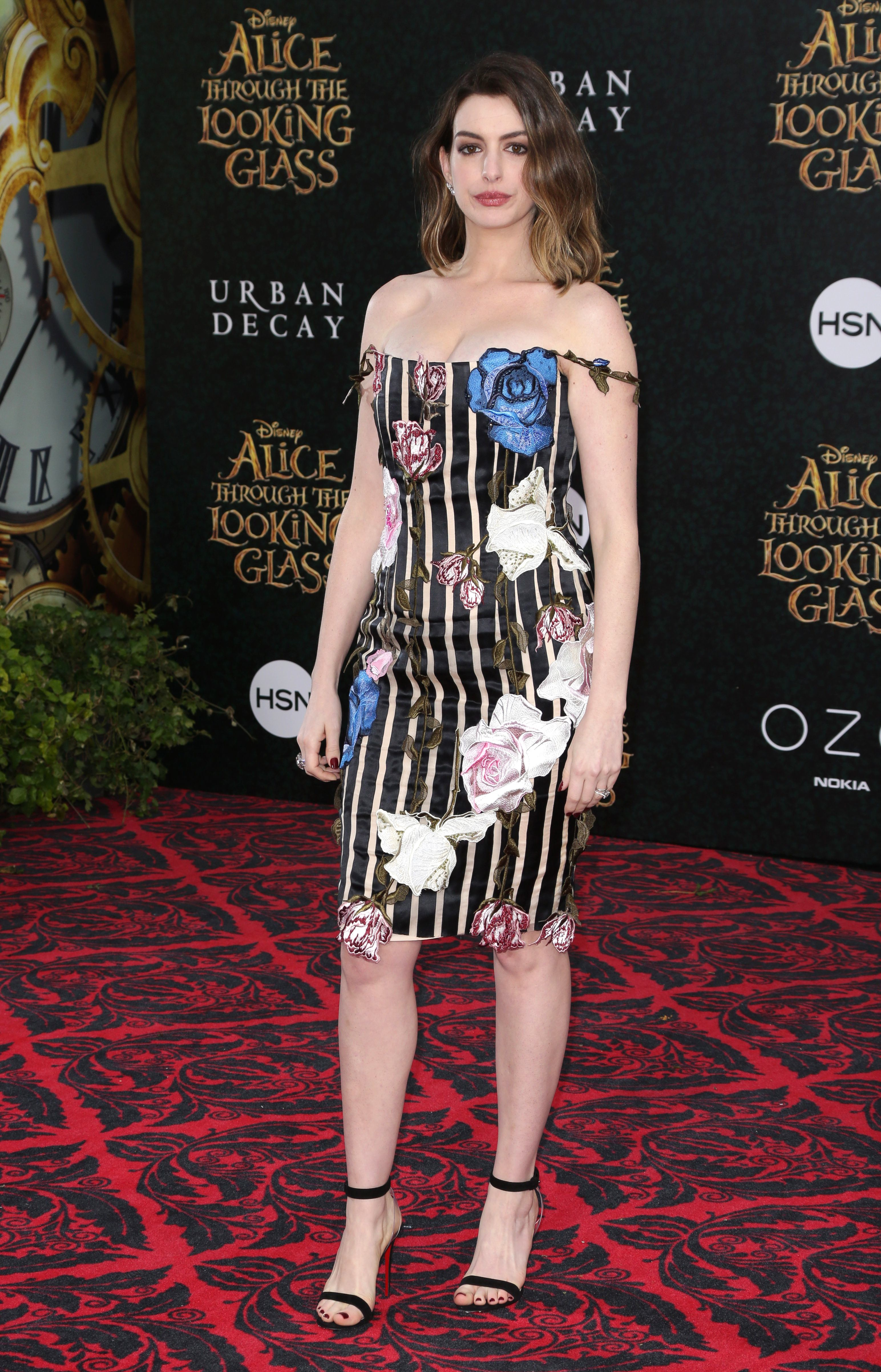 """Anne Hathaway at the """"Alice Through the Looking Glass"""" film premiere in Los Angeles."""