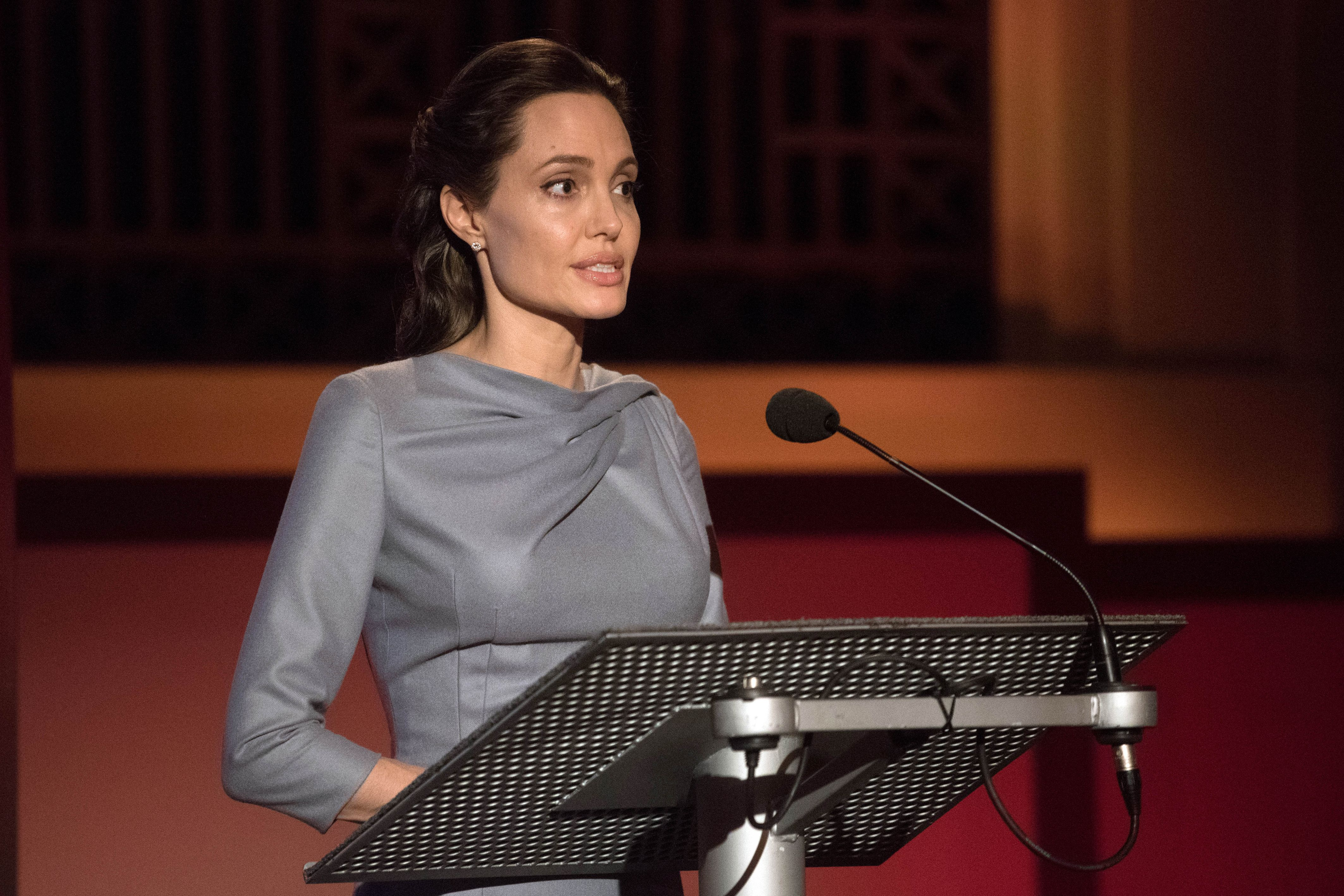 Angelina Jolie talks at BBC during the Global Refugee Crisis Conference in London.