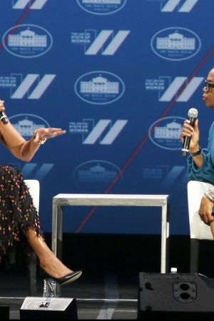 Michelle Obama, in Boss, with Oprah Winfrey.