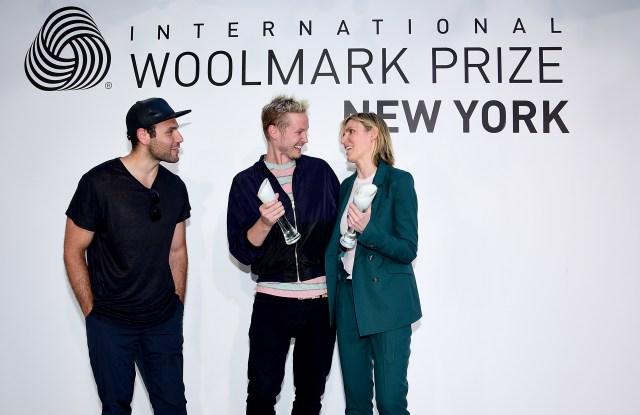 Joshua Cooper and Laurence Chandler of Rochambeau with Gabriela Hearst at International Woolmark U.S. finalists' announcement.