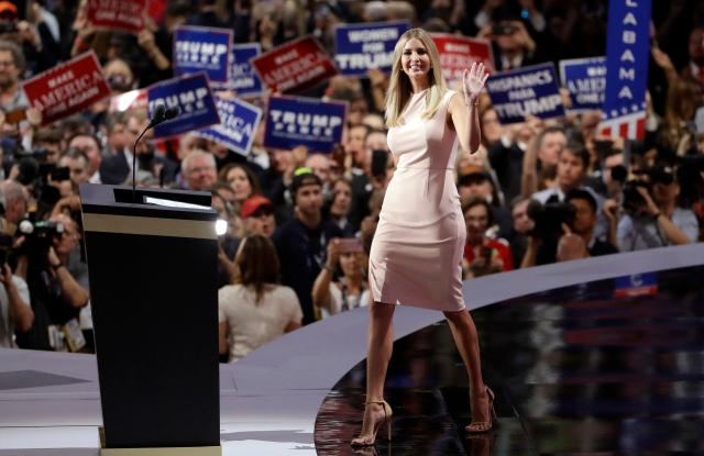 Ivanka Trump wears a blush-colored sleeveless sheath dress from her line
