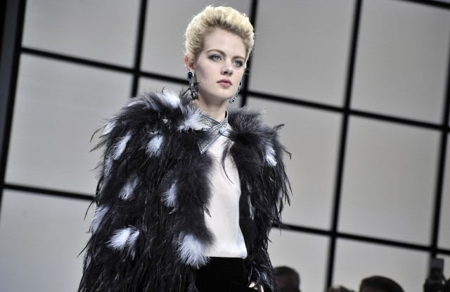 On the runway at the Giorgio Armani Privé fall show, during Haute Couture Fashion Week in Paris.