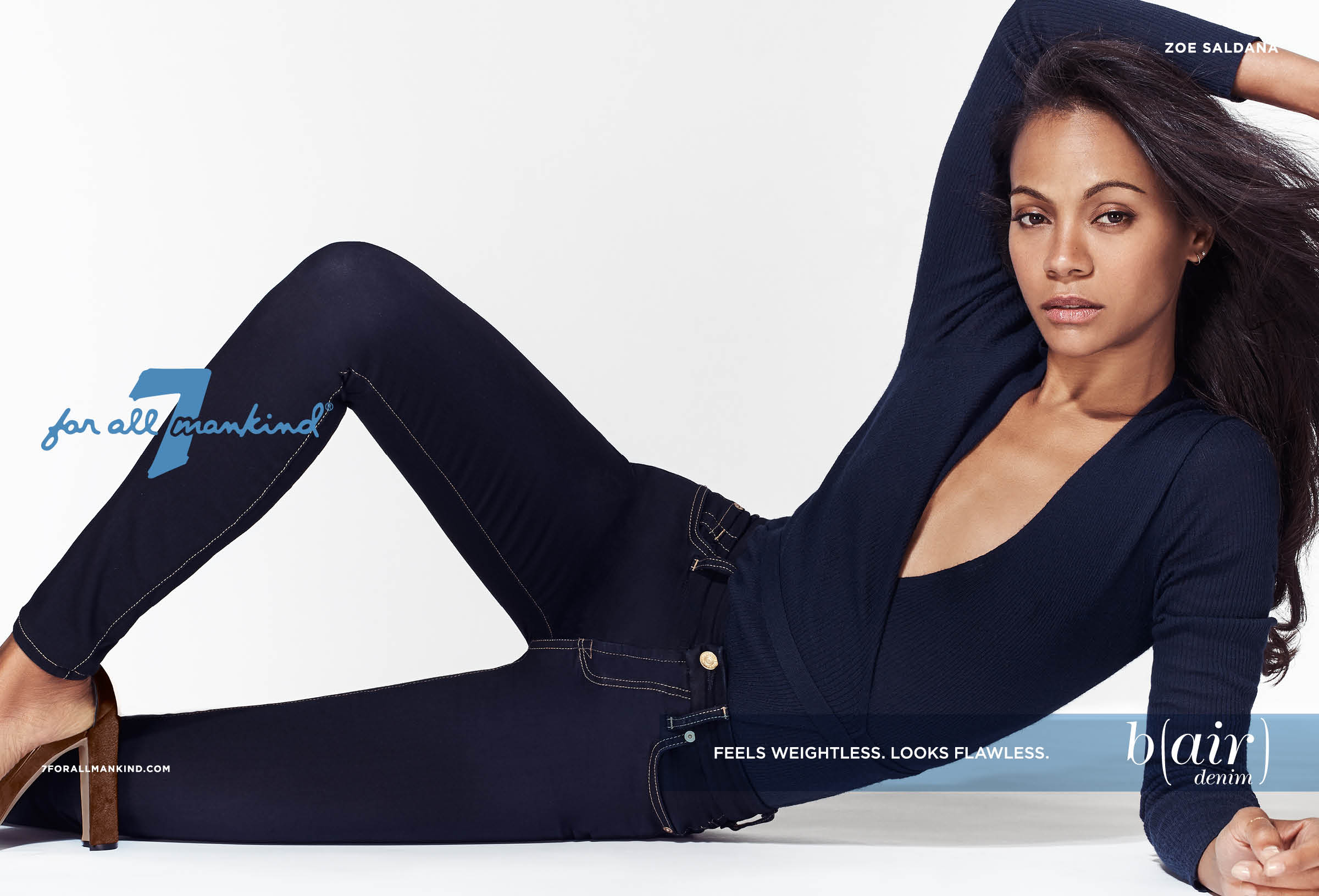 Zoe Saldana in Seven For All Mankind Bair Denim ad campaign