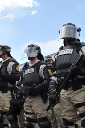 Cleveland police in riot gear.