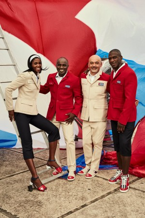 Christian Louboutin with Henri Tai and members of the Cuban national team in the official nonperformance outfit for the 2016 Olympic Games.