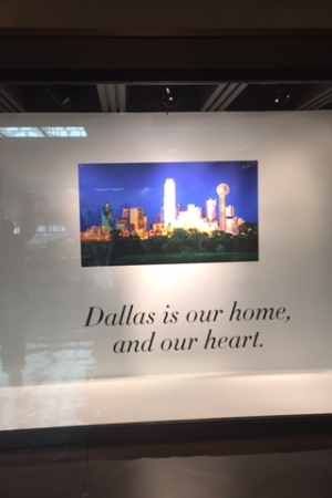 The memorial to the shooting victims in the window of the Neiman Marcus store in downtown Dallas.