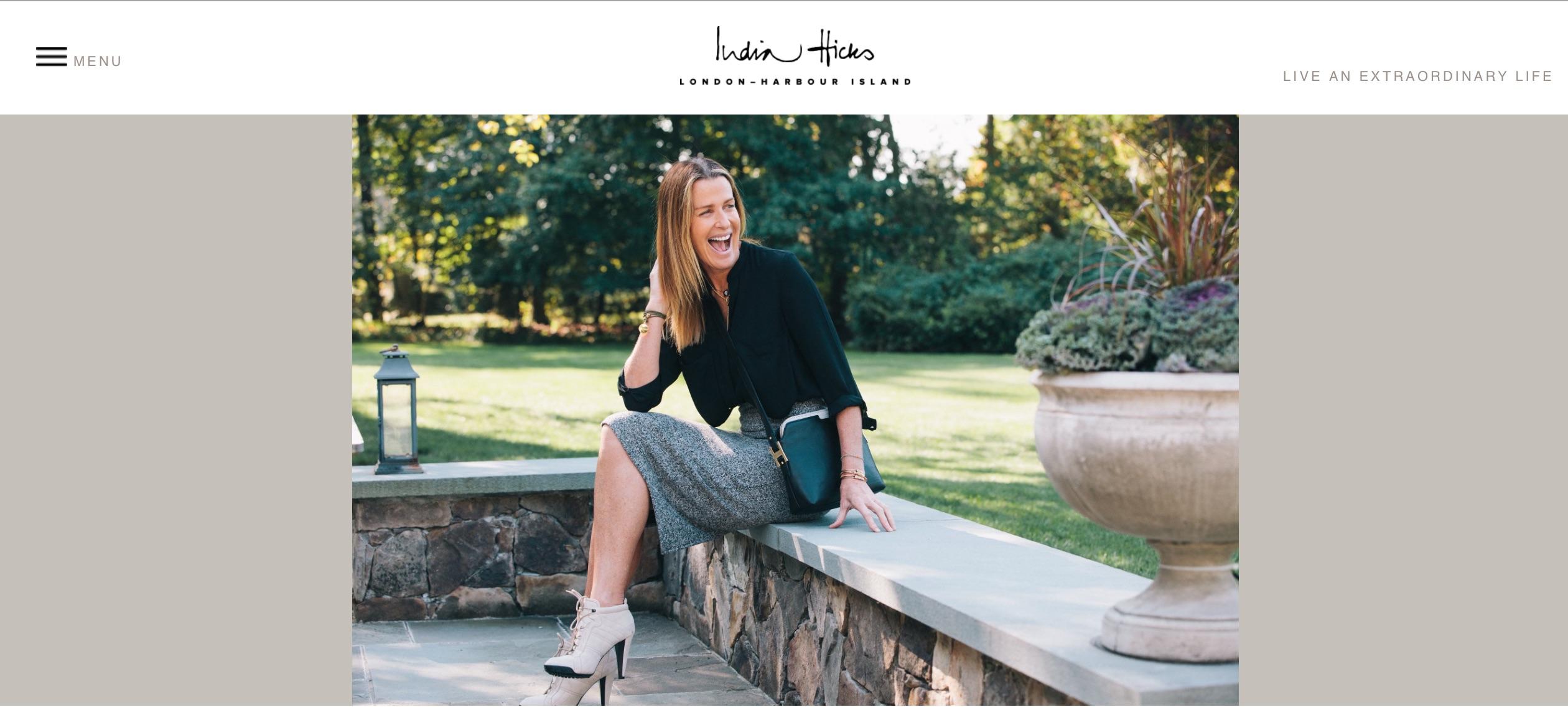 India Hicks e-comm homepage
