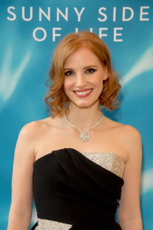 Jessica Chastain in a diamond necklace and ring from Piaget's new fine jewelry collection, Sunny Side of Life-Piaget
