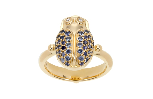 Temple St. Clair's 18K gold ring with blue sapphires and diamonds.