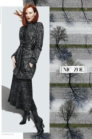 Karen Elson in Nic + Zoe's fall campaign.