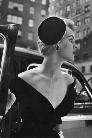 Nina Leen's 1953 shot of a woman modeling a cocktail hat.
