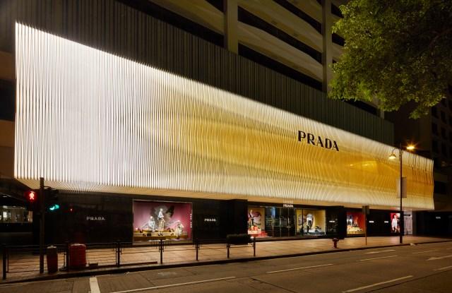 The new facade of Prada's Canton Road store in Hong Kong.