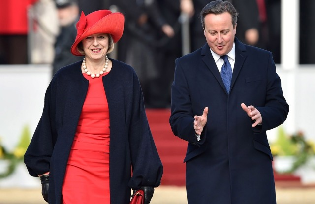 Theresa May and David Cameron at the ceremonial welcome at Horse Guards Parade for China President Xi Jinping in 2015.