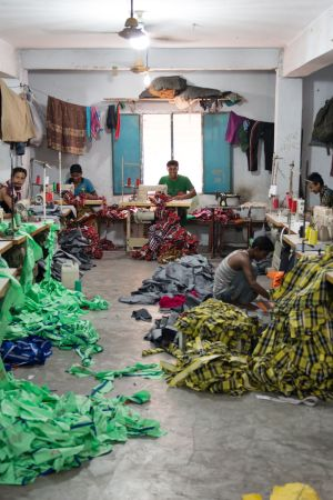 An informal garment factory located on the outskirts of the center of Dhaka.