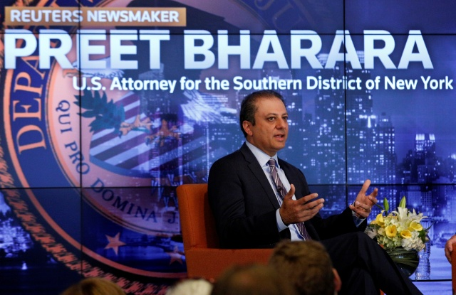 U.S. Attorney for the Southern District of New York Preet Bharara speaks during a Reuters Newsmaker event in New York