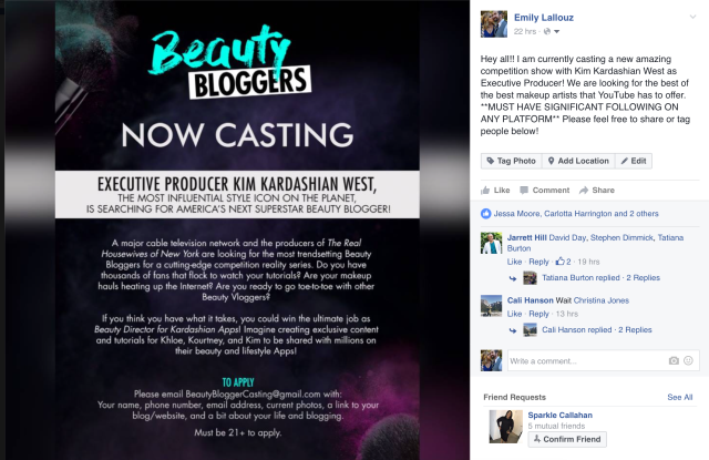 Casting-call announcement for beauty blogger reality competition executive produced by Kim Kardashian.