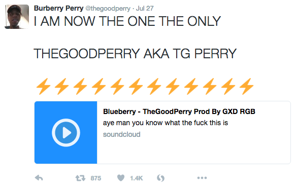 Rapper Perry Moise Changes Name, Drops Burberry Reference