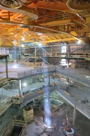 The interior of the Bow Tie Building during its renovation.