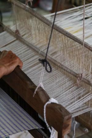 Inside a loom knitting factory.