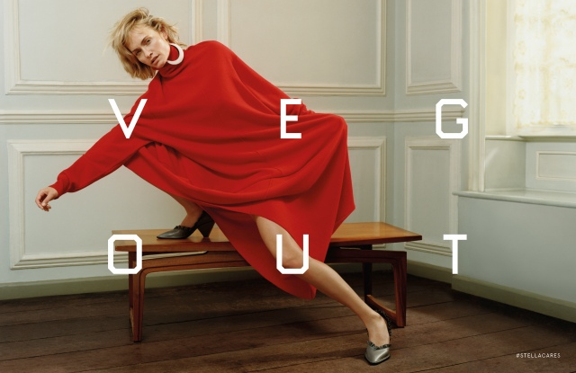 Amber Valletta in Stella McCartney's fall campaign with text by Ed Ruscha.