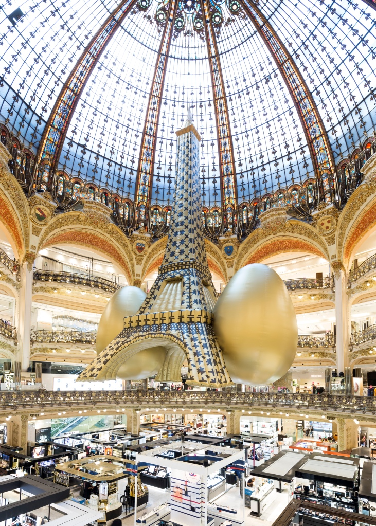 The blow-up Eiffel Tower at the Galeries Lafayette.