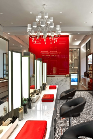 The Red Door by Elizabeth Arden's beauty bar in Union Square.