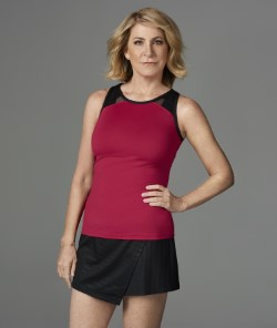 Chris Evert and a look from her Garnet Red line.