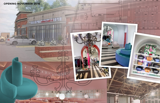 A rendering and mood board for Kirna Zabete's Bryn Mawr, PA store.