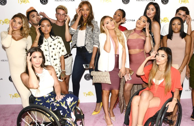 Tyra Banks with digital beauty influencers at Beautycon and Tyra Beauty event