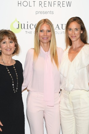 Juice Beauty founder Karen Behnke, Gwyneth Paltrow and Alexandra Weston, director of brand strategy at Holt  Renfrew, at the launch