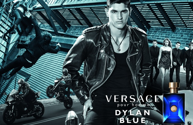An image from the Versace Dylan Blue ad campaign by Bruce Weber.