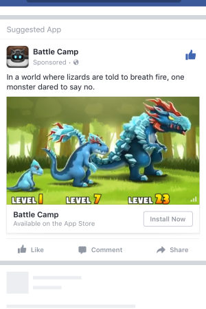 A Facebook ad with App Event Optimization