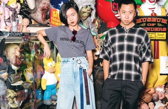 Siying Qu and Haoran li at their favorite vintage store, Search & Destroy.
