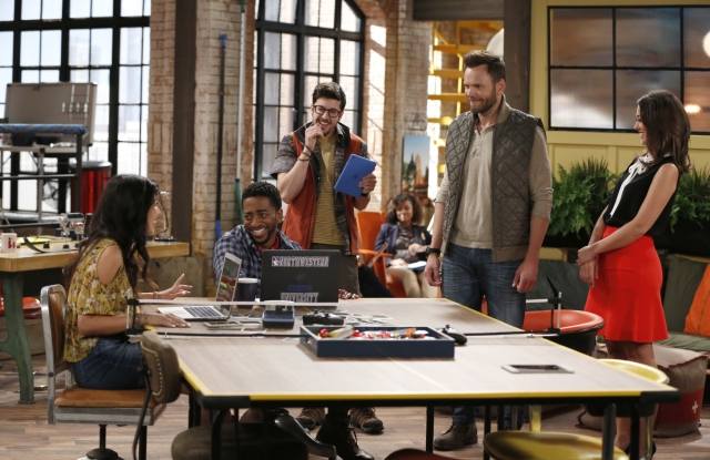 McHale's character Jack Gordon and the Millennial digital team.