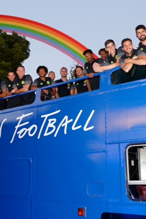 The Chelsea FC arrived in a double-decker bus.