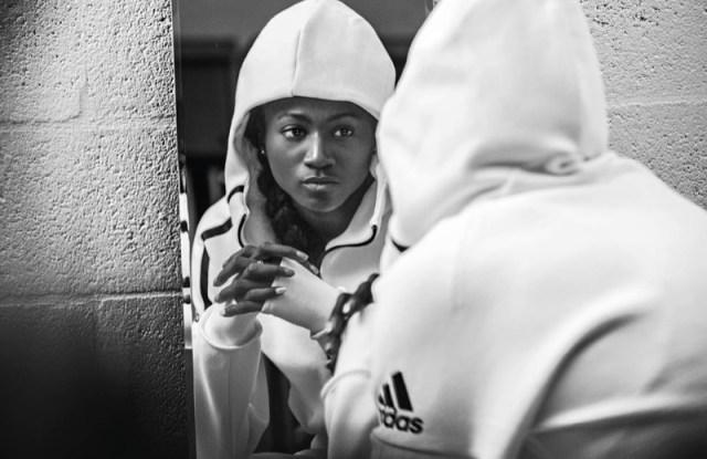 U.S. track star Tori Bowie wearing Adidas Athletics' new Z.N.E. hoodie.