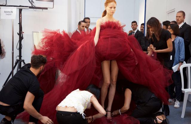 Backstage at fashion week
