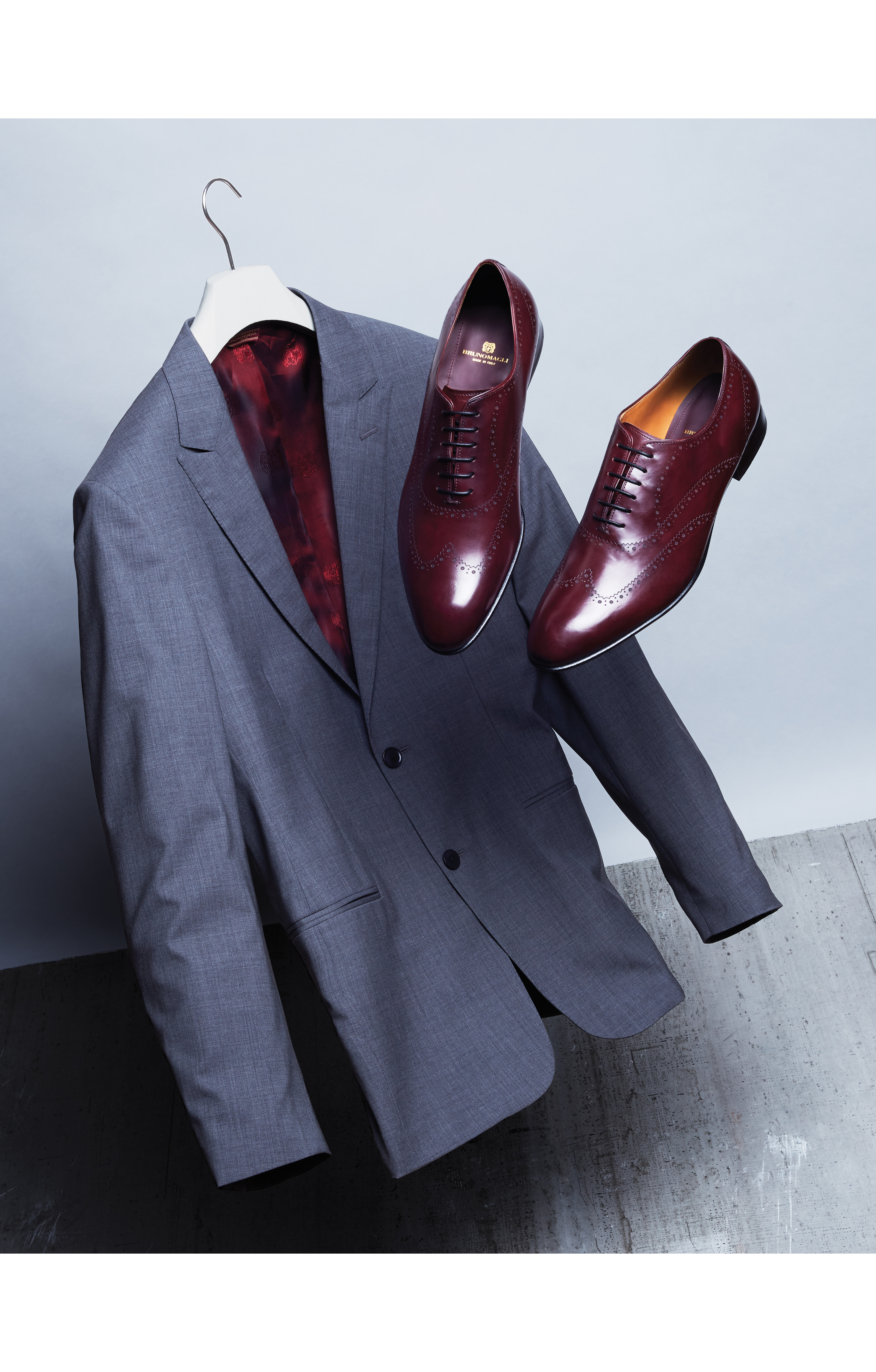 Bruno Magli's wool suit and shoes. Design Evolution
