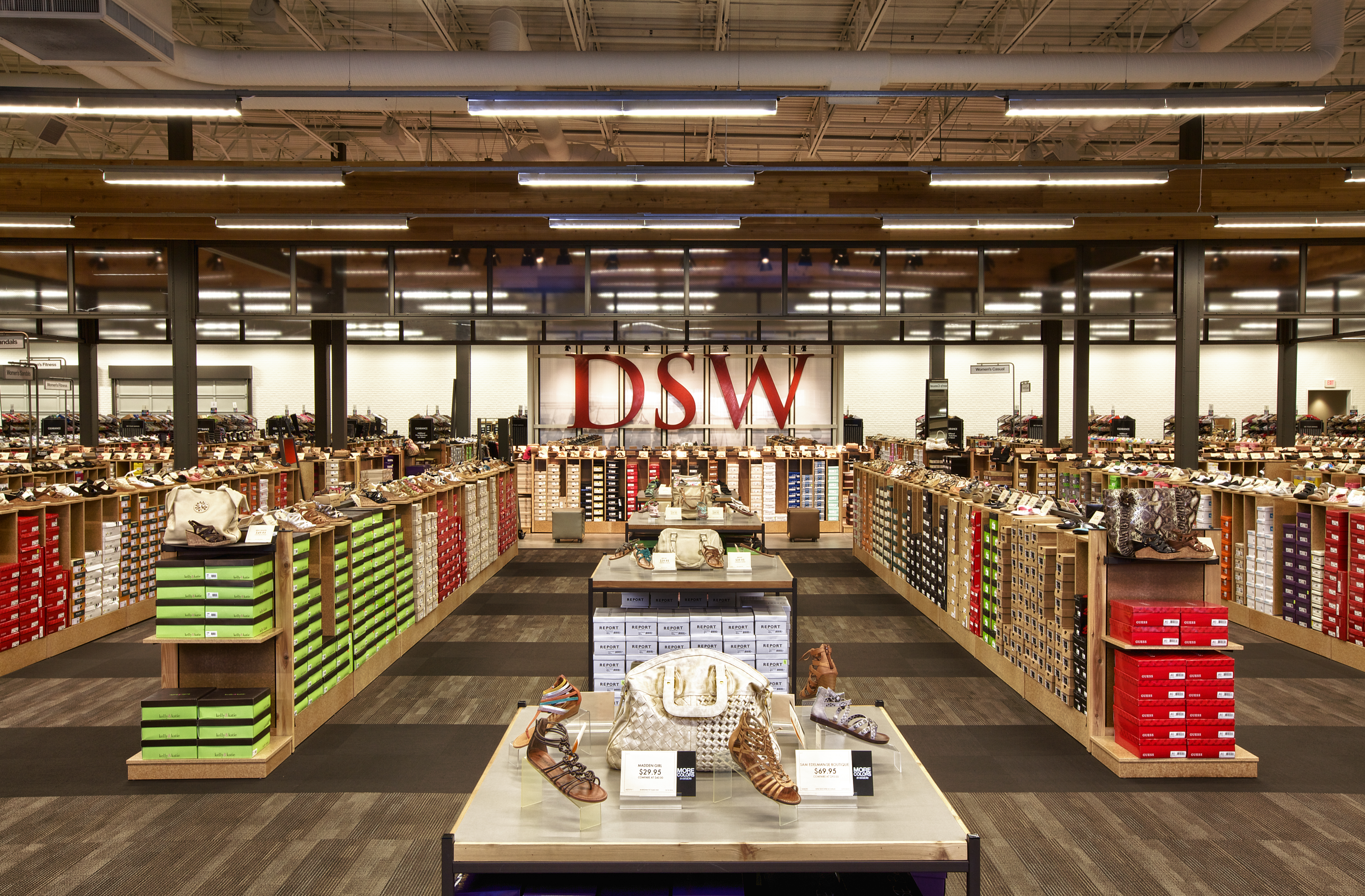 Interior of a DSW store.