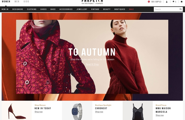 Farfetch has one million customers and web sites in nine languages.