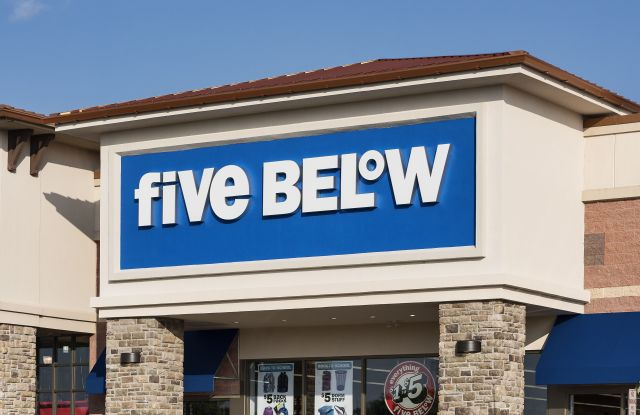Outside a Five Below store in Mount Laural, New Jersey.