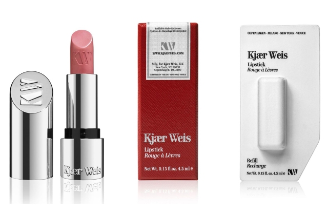 Kjær Weis' lipstick, packaging and a lipstick refill.