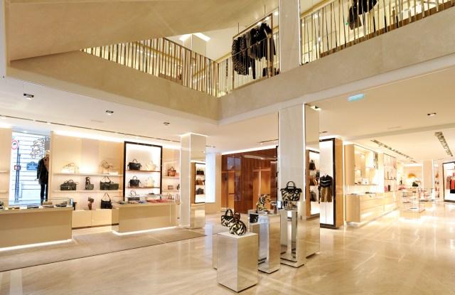 The Longchamp store on rue Saint Honoré in Paris