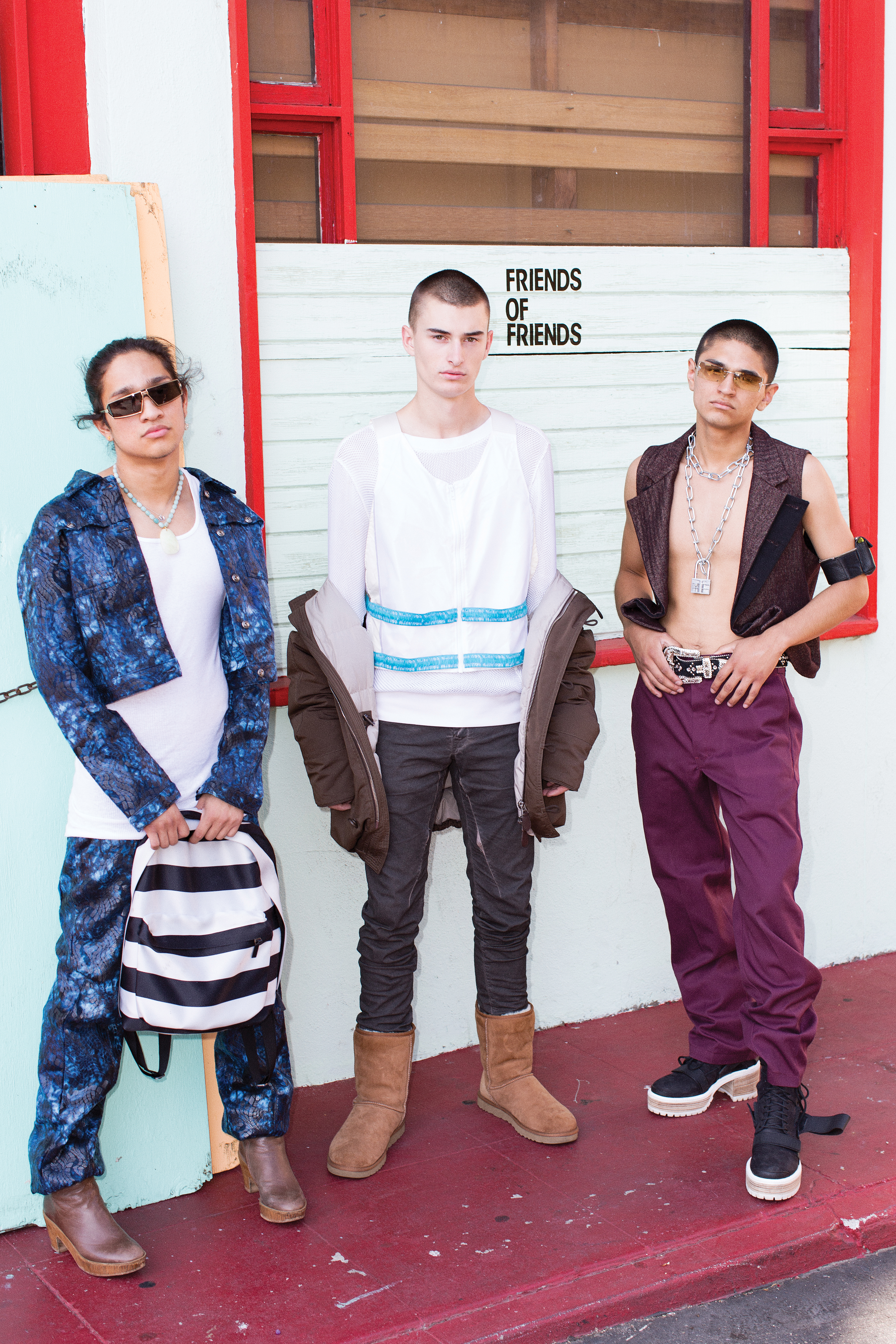 Steven Crispin, Frank Nadolny and Derrick Garcia Bonding over fashion, the teens put together crazy looks with pieces from FUBU, Cottweiler, Rick Owens, Ann Demeulemeester, Dickies and even metal chains from Lowe's.