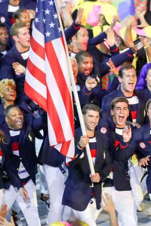 Michael Phelps in a Ralph Lauren Flag Bearer Jacket