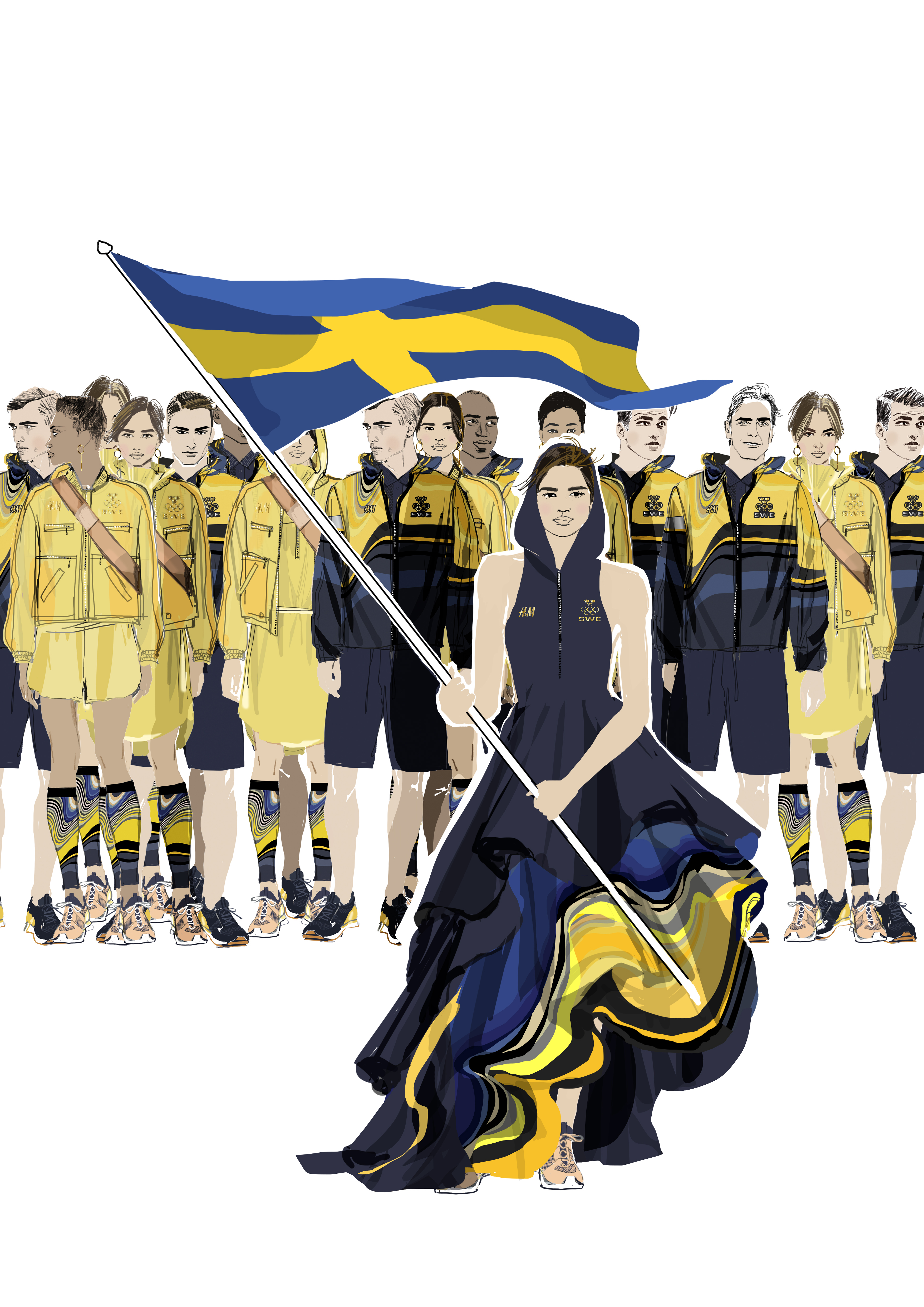 A sketch of H&M's outfits for Swedish athletes at the opening ceremony of the Rio Olympics
