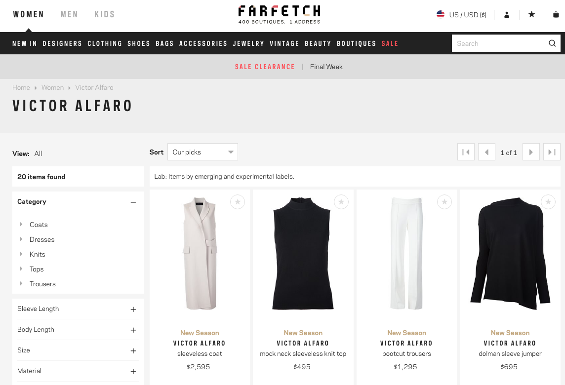 Victor Alfaro's brand page on Farfetch.